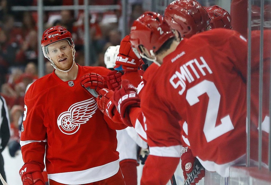 . Detroit Red Wings defenseman Nick Jensen celebrates his goal against the Columbus Blue Jackets in the first period of an NHL hockey game Tuesday, Feb. 7, 2017, in Detroit. (AP Photo/Paul Sancya)