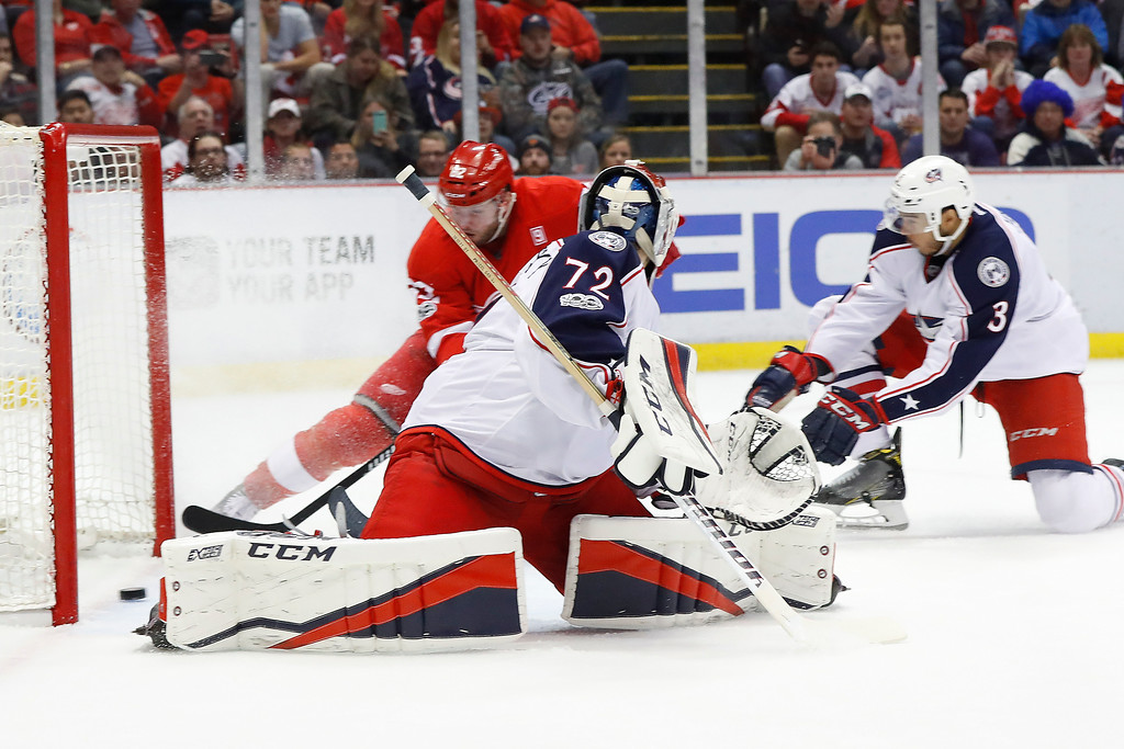 . Detroit Red Wings left wing Thomas Vanek (62) scores on Columbus Blue Jackets goalie Sergei Bobrovsky (72) in the second period of an NHL hockey game Tuesday, Feb. 7, 2017, in Detroit. (AP Photo/Paul Sancya)