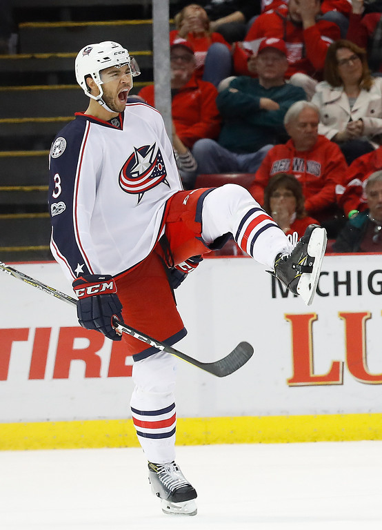 . Columbus Blue Jackets defenseman Seth Jones (3) celebrates his goal against the Detroit Red Wings in overtime of an NHL hockey game Tuesday, Feb. 7, 2017, in Detroit. Columbus won 3-2. (AP Photo/Paul Sancya)