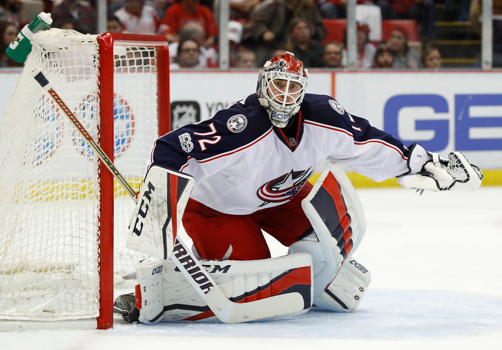 . Columbus Blue Jackets goalie Sergei Bobrovsky (72) plays against the Detroit Red Wings in the second period of an NHL hockey game Tuesday, Feb. 7, 2017, in Detroit. (AP Photo/Paul Sancya)