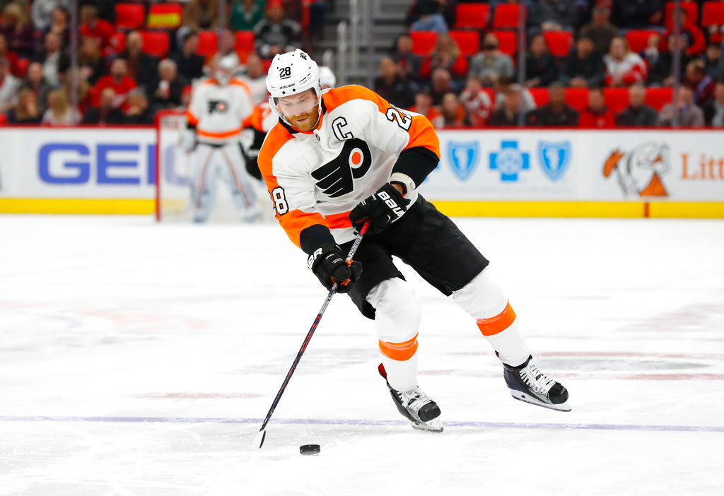 . Philadelphia Flyers center Claude Giroux (28) skates against the Detroit Red Wings in the first period of an NHL hockey game Tuesday, March 20, 2018, in Detroit. (AP Photo/Paul Sancya)
