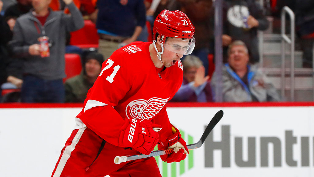 . Detroit Red Wings center Dylan Larkin (71) reacts to scoring on Philadelphia Flyers goaltender Petr Mrazek in the second period of an NHL hockey game Tuesday, March 20, 2018, in Detroit. (AP Photo/Paul Sancya)