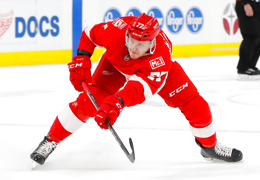 . Detroit Red Wings right wing Evgeny Svechnikov (77) shoots against the Philadelphia Flyers in the second period of an NHL hockey game Tuesday, March 20, 2018, in Detroit. (AP Photo/Paul Sancya)