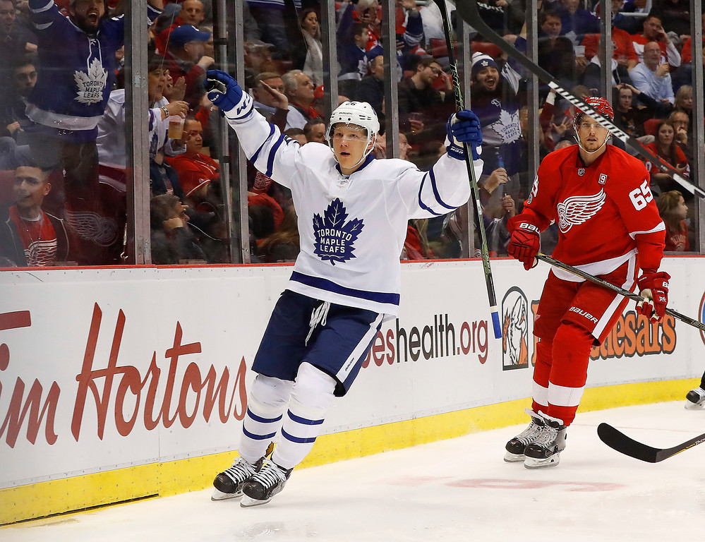 . Toronto Maple Leafs right wing Nikita Soshnikov celebrates his goal against the Detroit Red Wings in the third period of an NHL hockey game Wednesday, Jan. 25, 2017, in Detroit. (AP Photo/Paul Sancya)