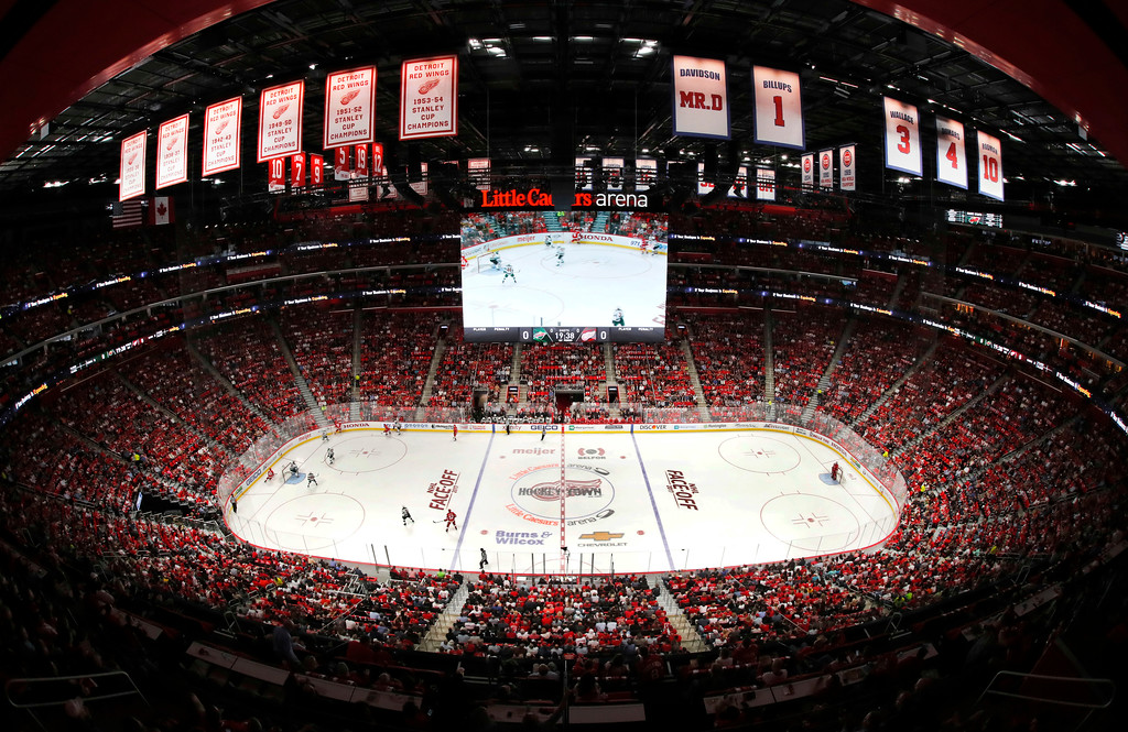. The Detroit Red Wings plays the Minnesota Wild in the first period of an NHL hockey game Thursday, Oct. 5, 2017, in Detroit. (AP Photo/Paul Sancya)