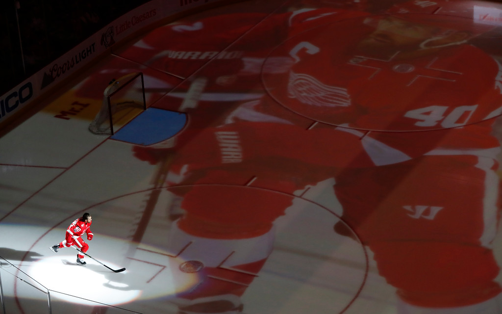 . Detroit Red Wings\' Henrik Zetterberg, of Sweden is introduced before the first period of an NHL hockey game against the Minnesota Wild Thursday, Oct. 5, 2017, in Detroit. (AP Photo/Paul Sancya)