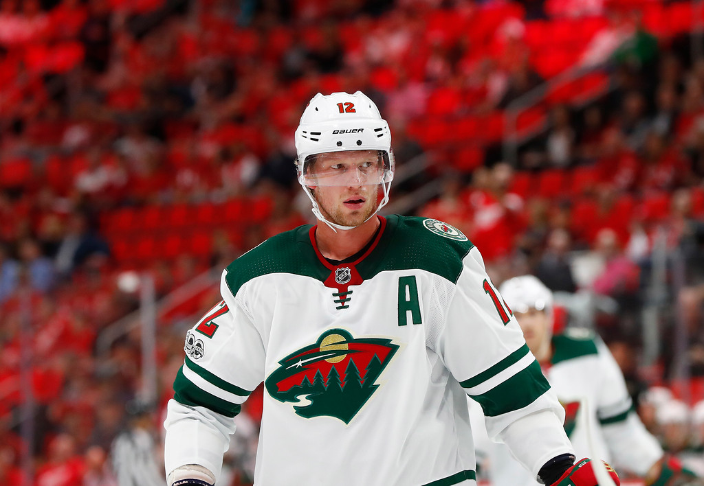 . Minnesota Wild center Eric Staal (12) plays against the Detroit Red Wings in the third period of an NHL hockey game Thursday, Oct. 5, 2017, in Detroit. Detroit won 4-2. (AP Photo/Paul Sancya)