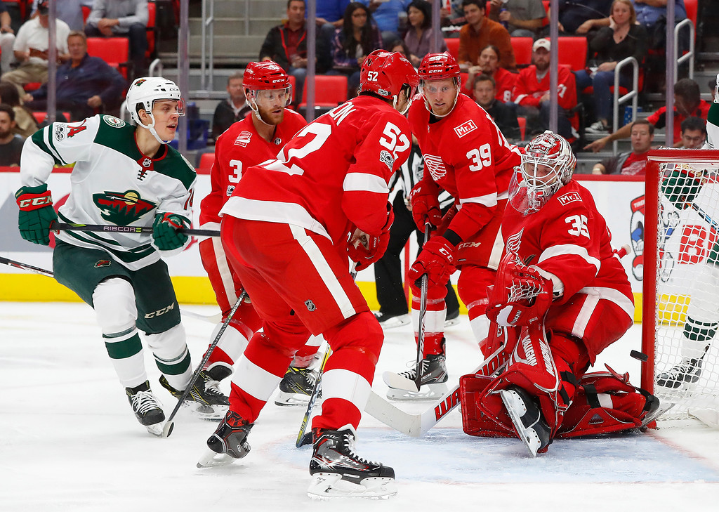 . Minnesota Wild center Joel Eriksson Ek, of Sweden (14) scores on Detroit Red Wings goalie Jimmy Howard (35) in the third period of an NHL hockey game Thursday, Oct. 5, 2017, in Detroit. (AP Photo/Paul Sancya)