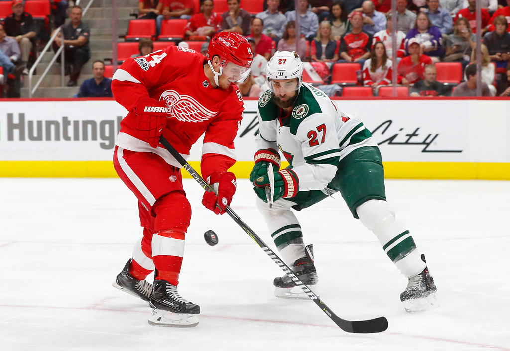 . Minnesota Wild defenseman Kyle Quincey (27) lifts the puck from Detroit Red Wings right wing Gustav Nyquist, of Sweden (14) in the second period of an NHL hockey game Thursday, Oct. 5, 2017, in Detroit. (AP Photo/Paul Sancya)