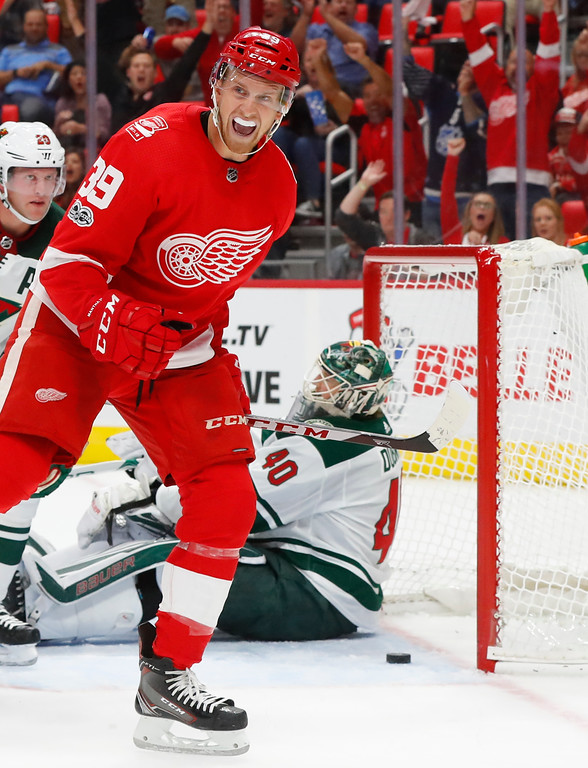 . Detroit Red Wings\' Anthony Mantha (39) celebrates his goal against the Minnesota Wild in the second period of an NHL hockey game Thursday, Oct. 5, 2017, in Detroit. (AP Photo/Paul Sancya)