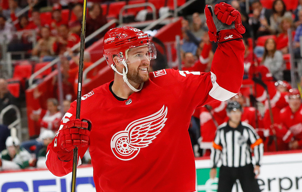 . Detroit Red Wings defenseman Mike Green (25) celebrates a Dylan Larkin (71) goal against the Minnesota Wild in the second period of an NHL hockey game Thursday, Oct. 5, 2017, in Detroit. (AP Photo/Paul Sancya)