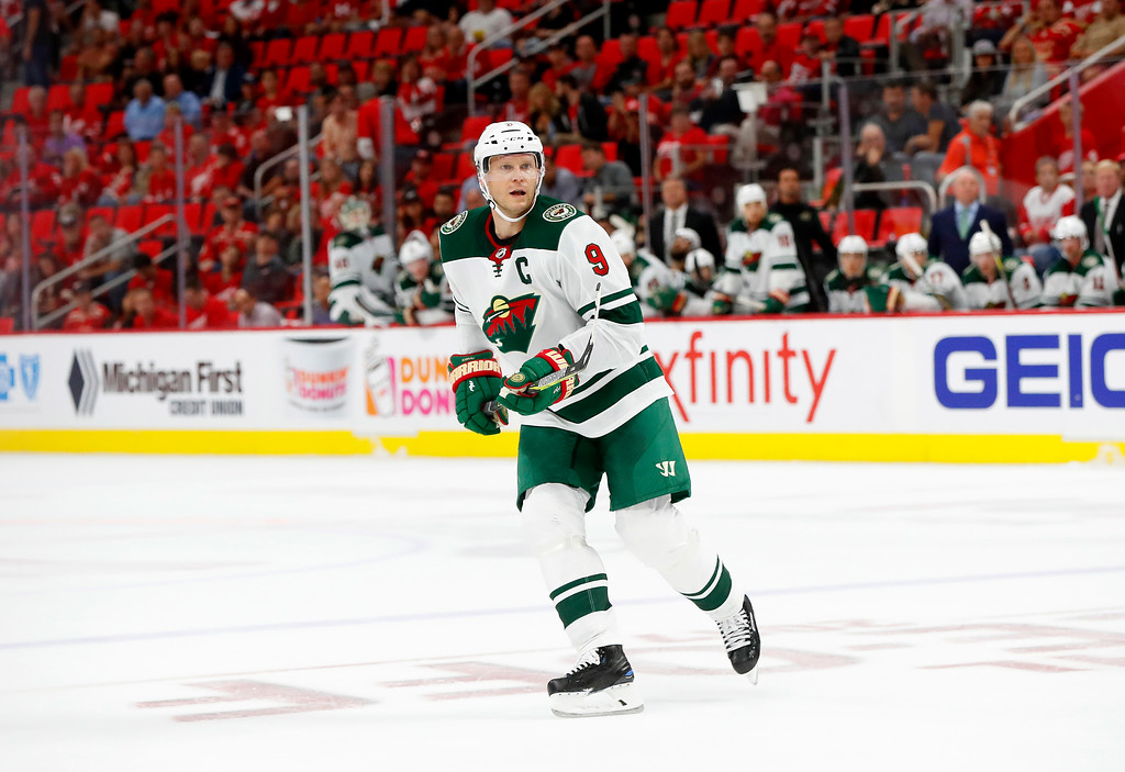 . Minnesota Wild center Mikko Koivu, of Finland, (9) skates against the Detroit Red Wings in the third period of an NHL hockey game Thursday, Oct. 5, 2017, in Detroit. Detroit won 4-2. (AP Photo/Paul Sancya)