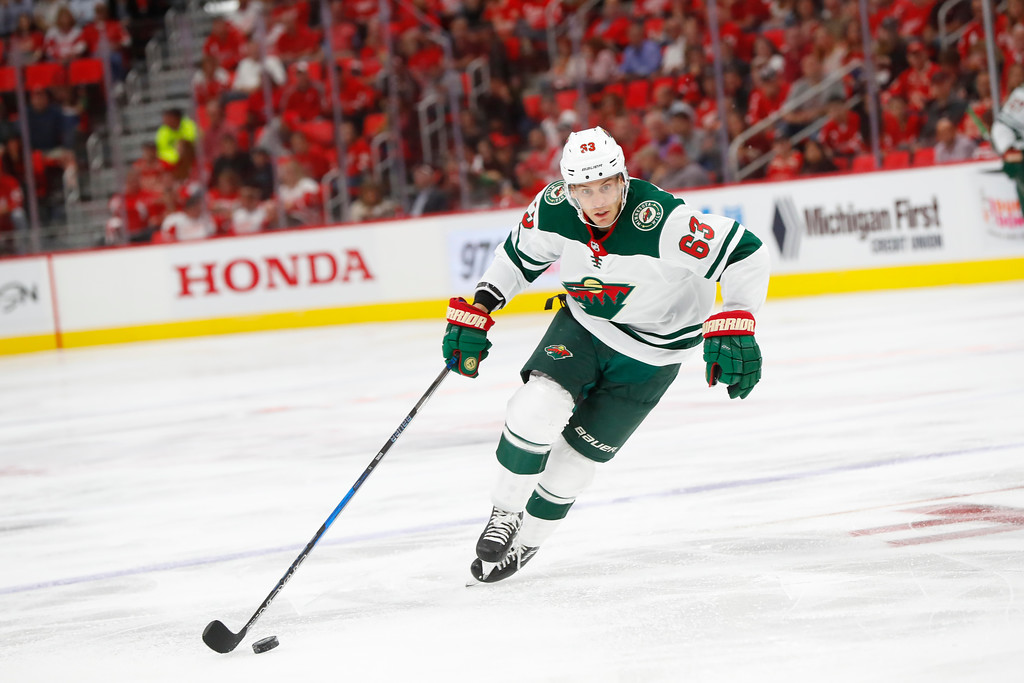 . Minnesota Wild left wing Tyler Ennis (63) skates against the Detroit Red Wings in the third period of an NHL hockey game Thursday, Oct. 5, 2017, in Detroit. (AP Photo/Paul Sancya)