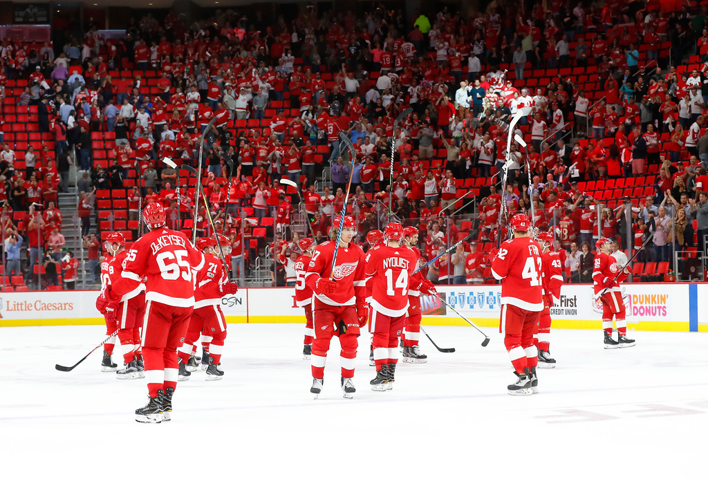 . Detroit Red Wings celebrate after beating the Minnesota Wild 4-2 after an NHL hockey game Thursday, Oct. 5, 2017, in Detroit. (AP Photo/Paul Sancya)