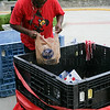 Derwin Fort helps with the sorting process.