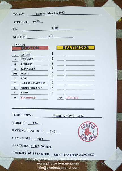 Boston Red Sox Baltimore Orioles 17 Innings Boston MA May 6, 2012 Copyright ©2012 Nancy Nutile-McMenemy www.photosbynanci.com More images: http://www.photosbynanci.com/redsox.html