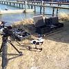 Opsætning af drone til luftoptagelser, Thyborøn.