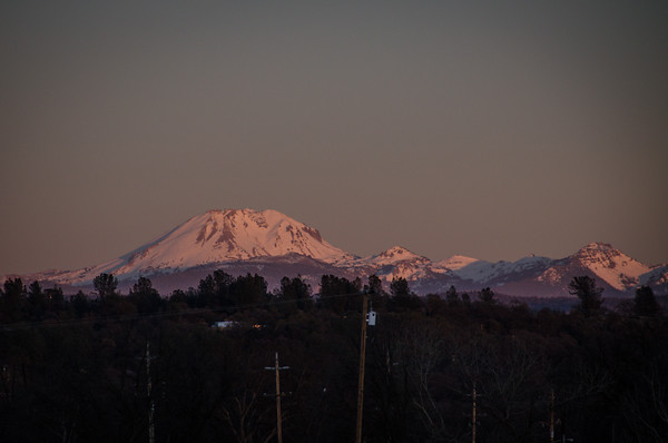 Mount Lassen at Sunset. Captured just east of Redding, California.