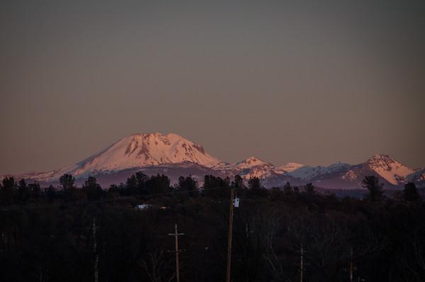 Mount Lassen at Sunset. Captured just east of Redding, California.