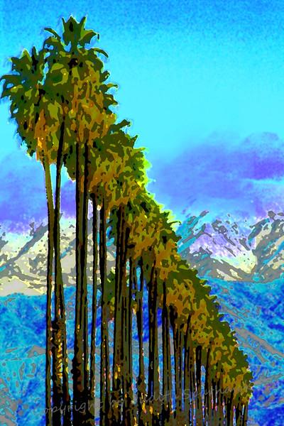 Palm Rows ~ Posterized, Blue Sky
