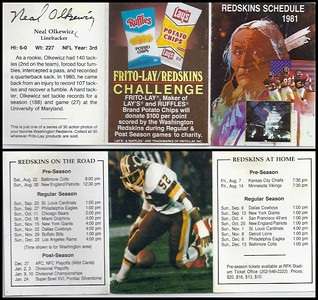 Neal Olkewicz 1981 Frito Lay Redskins Schedules