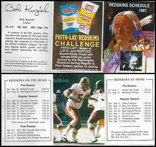 Bob Kuziel 1981 Frito Lay Redskins Schedules