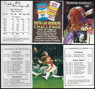 John McDaniel 1981 Frito Lay Redskins Schedules