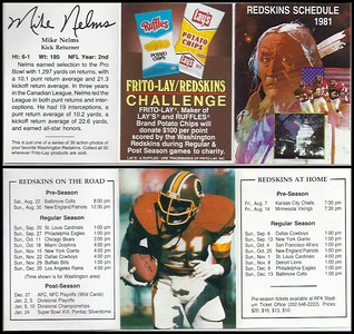 Mike Nelms 1981 Frito Lay Redskins Schedules