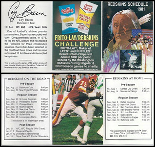 Coy Bacon 1981 Frito Lay Redskins Schedules