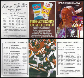 Clarence Harmon 1981 Frito Lay Redskins Schedules
