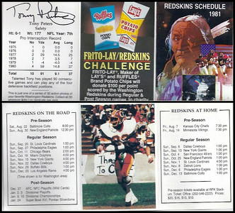 Tony Peters 1981 Frito Lay Redskins Schedules