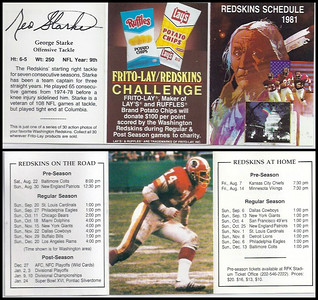 George Starke 1981 Frito Lay Redskins Schedules