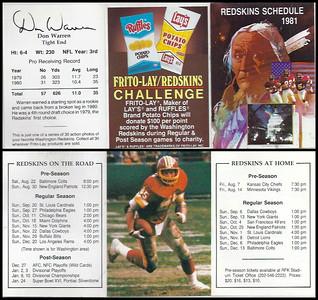 Don Warren 1981 Frito Lay Redskins Schedules