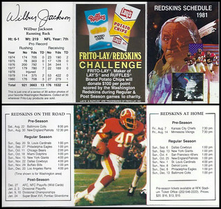 Wilbur Jackson 1981 Frito Lay Redskins Schedules