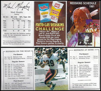 Mark Murphy 1981 Frito Lay Redskins Schedules