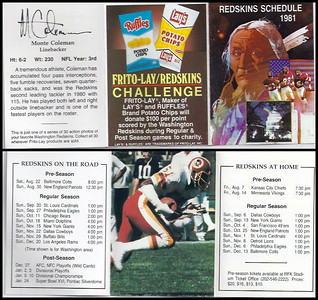 Monte Coleman 1981 Frito Lay Redskins Schedules