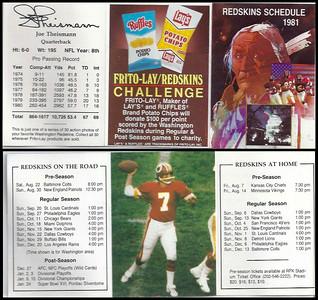 Joe Theismann 1981 Frito Lay Redskins Schedules