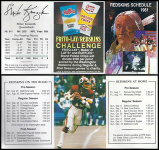 Mike Kruczek 1981 Frito Lay Redskins Schedules