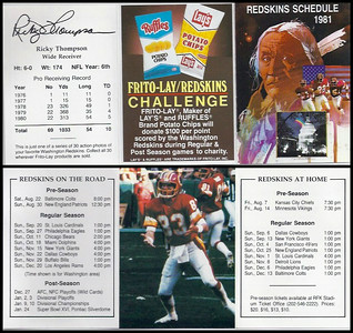 Ricky Thompson 1981 Frito Lay Redskins Schedules