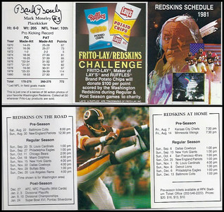 Mark Moseley 1981 Frito Lay Redskins Schedules