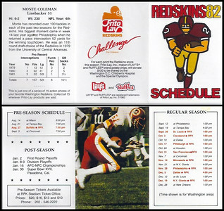 Monte Coleman 1982 Frito Lay Redskins Schedules