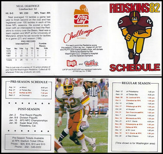 Neal Olkewicz 1982 Frito Lay Redskins Schedules