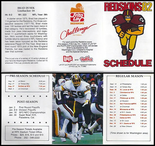 Brad Dusek 1982 Frito Lay Redskins Schedules