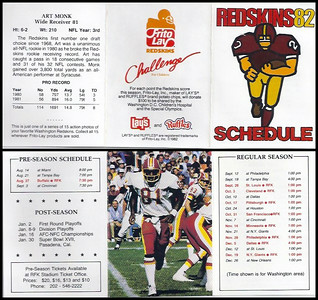 Art Monk 1982 Frito Lay Redskins Schedules
