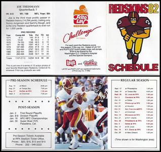 Joe Theismann 1982 Frito Lay Redskins Schedules