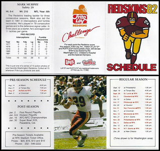 Mark Murphy 1982 Frito Lay Redskins Schedules