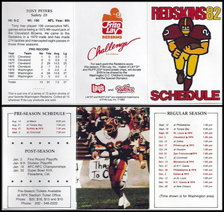 Tony Peters 1982 Frito Lay Redskins Schedules