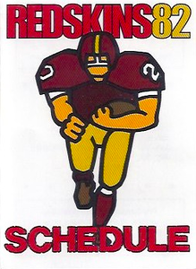 1982 Frito Lay Redskins Schedules