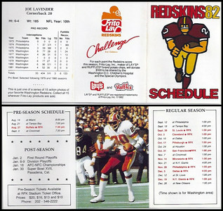 Joe Lavender 1982 Frito Lay Redskins Schedules