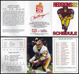 George Starke 1982 Frito Lay Redskins Schedules
